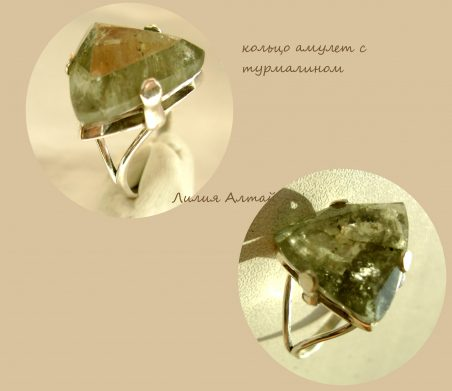 зеленый камень турмалин кольцо
